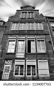 Old house in Belgium from the outside, Ghent, Brussel, Antwerp city buildings