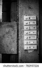 old house bells in black and white