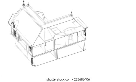 old house building sketch
