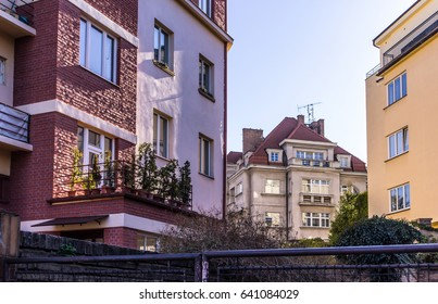 Old house, built in the nineteenth century. Spring. District of the old city. Prague, Czech Republic.
