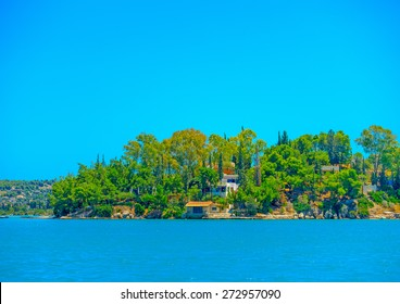 old house by the sea in Spetses island in Greece