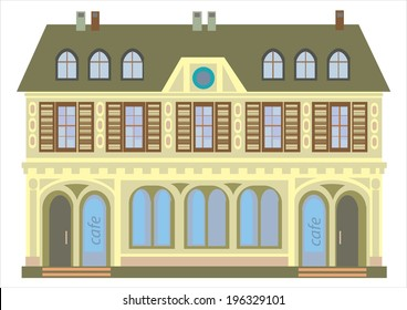 Old house with a cafe on the ground floor isolated on white background