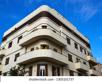 Old house In classical traditional Bauhaus style in the white city  Tel-Aviv Israel