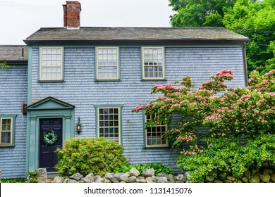 Old House Colorful Flowers Padnaram Village Dartmouth Masschusetts