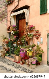 old house entrance with many blossoming flowers at ancient sea village, shot at Finalborgo, Liguria, Italy