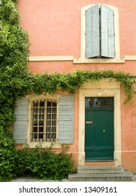 Old house facade with shutters, Provence, France