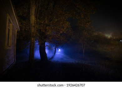 Old house with a Ghost in the forest at night or Abandoned Haunted Horror House. Old mystic building in dead tree forest. Surreal lights. Horror Halloween concept