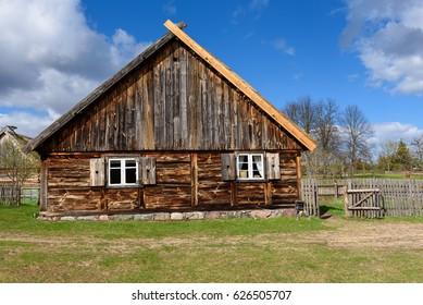 Old house in Kashubian Ethnographic Park in Wdzydze Kiszewskie. Poland.