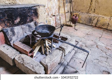 Old house kitchen fireplace cooking set