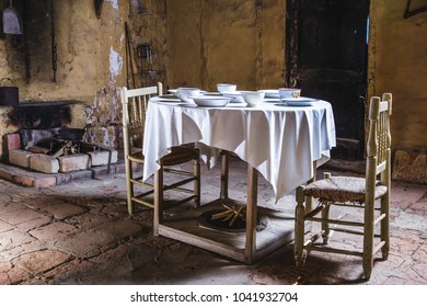 Old house kitchen table set ready to use