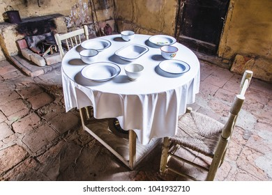 Old house kitchen table set from top