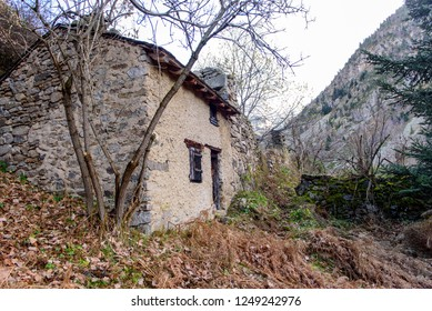 Old House in  Merens-les-vals, Ariege, Occitanie, France.