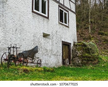 Old house near saut du doubs waterfall in the region of doubs switzerland