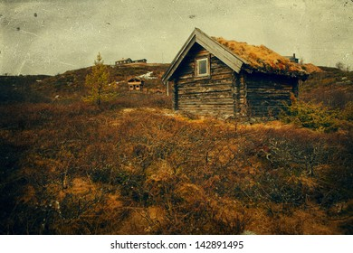 Old house on the field. vintage