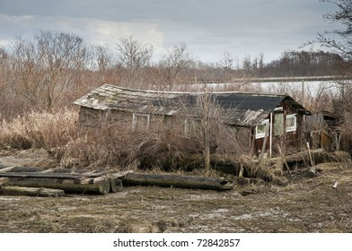 Old house on river bank