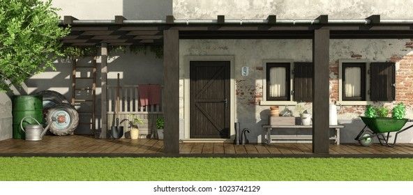 Old house with patio, wooden pergola and gardening equipment 3d rendering