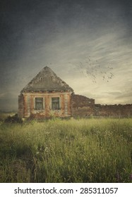 Old house ruins in the field. Texture added.