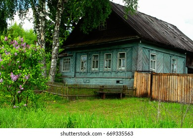 Old house in the Russian outback. A rural house in the Tver region. Rural life.