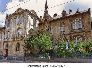 An old house with a turret on the street of Lvov, Ukraine