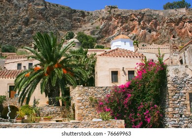 Old house and white chapel in ancient Monemvasia, Greece