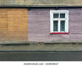 Old house with white window