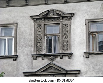 Old house windows in Budapest, Hungary.
