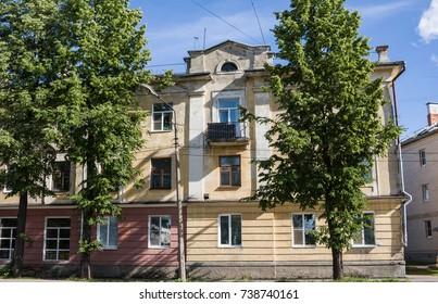 Old houses at 7 Siezda Sovetov street in Kotlas, Arkangelskaya region, Russia