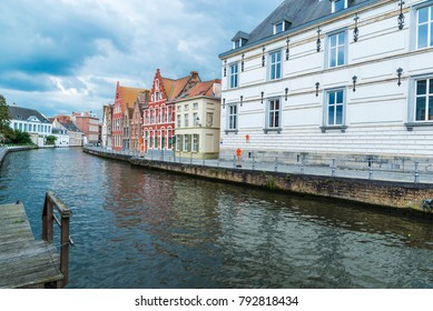 Old houses along the river in the medieval city of Bruges, Belgium