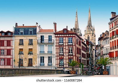 Old houses of Bayonne in basque country France