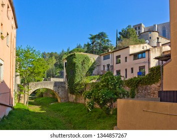 Old houses and bridge in historical part of Girona, Catalonia, Spain
