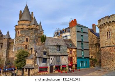 Old houses and  castle in the town of Vitré, Brittany, France