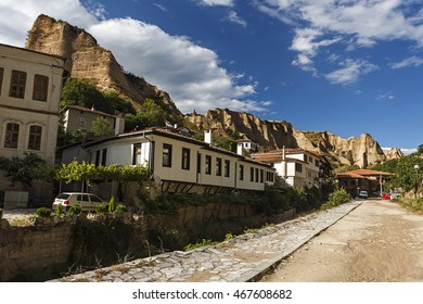 Old houses and famous sand pyramids in Melnik,  Bulgaria