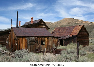 Old houses in the historic ghost town of Bodie, California