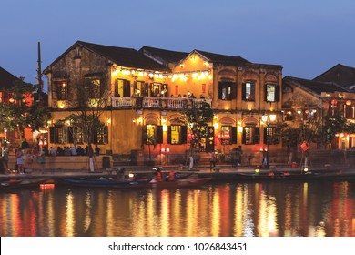 Old houses in Hoi An ancient town at dusk ,  Hoi An is one of the most popular destinations in Vietnam.