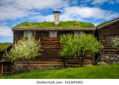 Old houses in Lillehammer in Norway