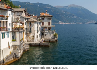 Old houses on the bank of Como lake, Brienno comune, Italy