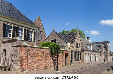 Old houses on the Brink square in Assen, Netherlands