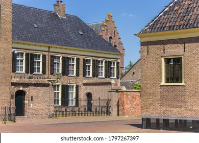 Old houses on the Brink square of Assen, Netherlands