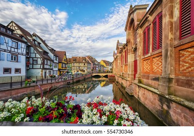 Old houses on the canal waterfront in the city of Colmar. France.