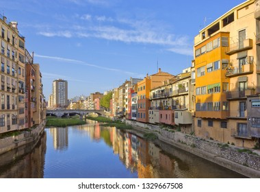 Old houses on the riverbank in Girona, Catalonia, Spain