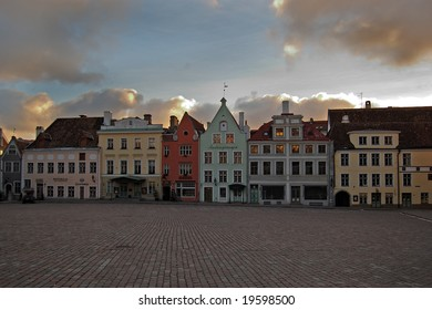 Old houses on Town Hall square, Tallinn, Estonia Raekoja plats morning medieval