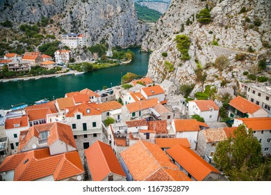 old houses in the small town Omis and river Cetina, Makarska Riviera, Croatia