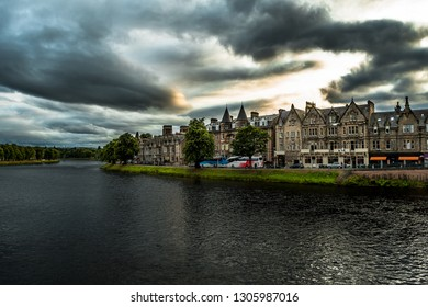 Old Houses In A Street Of The City Inverness At The River Ness In Scotland
