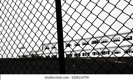 Children Behind Chain Link Fence Barbed Stock Vector 323239556 ...
