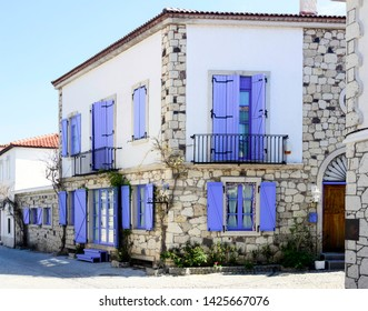 Old Houses view in historical Alacati Town. Alacati is populer tourist destination in Turkey.
