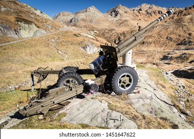 Old howitzer as a  memorial in Switzerland