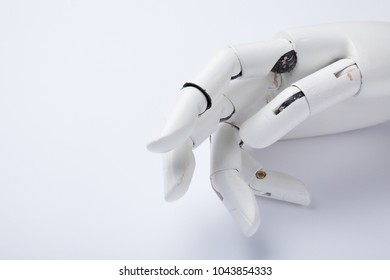 Old human robotic arm in modern concept. Hand prosthesis.