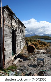 Old hunters hut abandoned in terra del fuego