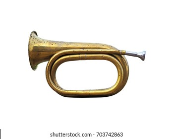 Old hunting horn. Trumpet musical metal instrument isolated over white background. Antique brass bugle on a white background