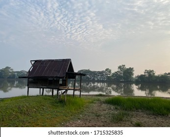 old hut by the lake